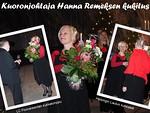 Kuoronjohtaja Hanna Remes kukitettuna.