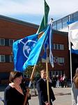 Floorankentän lippua kantoi presidentti Simo Pääkkönen.
