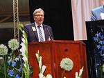 Puhumassa heinäkuun alussa virkaansa astuva Liiton puheenjohtaja Erkki Honkala.