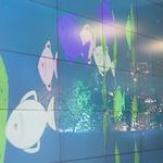 Pääaulassa on elektroninen akvaario.<br>