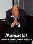 """Kuvernööri Timo Auranen päätti kokouksen kv-presidentiltä Aggarwalilta Chicagossa oppimallaan tavalla, Namaste!  Kyse on kunnioittavasta tervehdyksestä: """"Tervehdin Sinussa olevaa pyhyyttä!"""""""