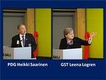 PDG Heikki Saarinen esitti 100-vuotisaktiviteettien tilastoja ja kehotti hoitamaan raportoinnit ajan tasalle. GST Leena Logren vuorostaan innosti palvelemaan! Hän muistutti myös 28.4.2018 Narinkkatorilla pidettävästä diabetes-kävelystä.