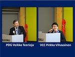 PDG Veikko Teerioja päivitti kuulijat näkövammaistyön tilanteesta ja toivoi klubien jatkavan hankkeitten tukemista. Illan yllätysvieras oli VCC Pirkko Vihavainen, joka käytti lopussa lyhyen puheen vuoron.