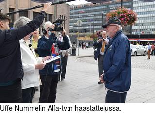 Uffe Nummelin Alfa-tv:n haastattelussa.